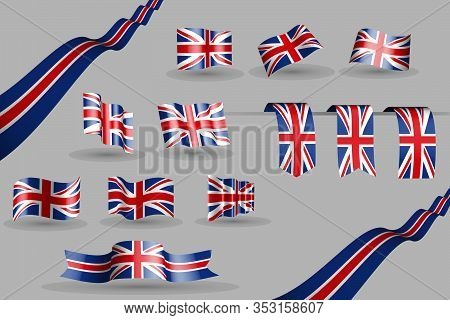 Many United Kingdom (uk) Flags, Waving Banners And Bookmarks In The Colors Of The Flag Blue, Red, Wh