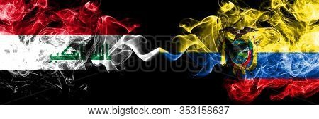 Iraq, Iraqi Vs Ecuador, Ecuadorian Smoky Mystic Flags Placed Side By Side. Thick Colored Silky Smoke