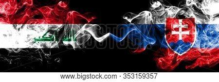 Iraq, Iraqi Vs Slovakia, Slovakian Smoky Mystic Flags Placed Side By Side. Thick Colored Silky Smoke