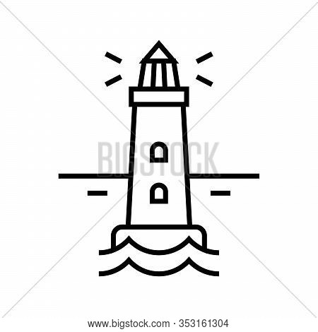Lighthouse Line Icon, Concept Sign, Outline Vector Illustration, Linear Symbol.