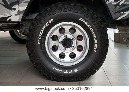 Novosibirsk, Russia - 02.26.2020: The Most Extreme All-season, Off-road Tire Cooper Discoverer Stt P
