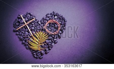 Lent Season,holy Week And Good Friday Concepts - Image Of Wooden Cross, Crown Of Thorns And Palm Lea