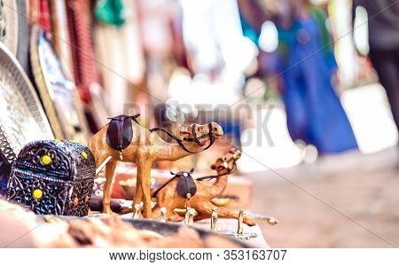 Small Wooden Dromedary Camel At Street Market In Morocco - Travel Shopping Concept With Manufactured