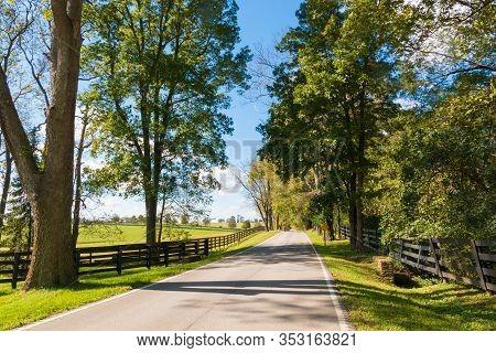 Country Road Along Horse Farms. Kentucky, Usa