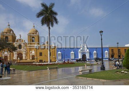 Trujillo, Peru - September 1, 2014: Colourful Buildings Surrounding The Plaza De Armas Of Trujillo I
