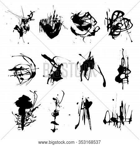 Elegant Vector Set Of Ink Splashes Blots Splatter Collection. Grunge Design Element, Art Messy Backd