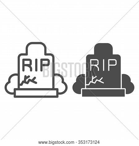 Gravestone Line And Solid Icon. Grave, Funeral Gravestone With Rip Sign And Crack. Halloween Party V