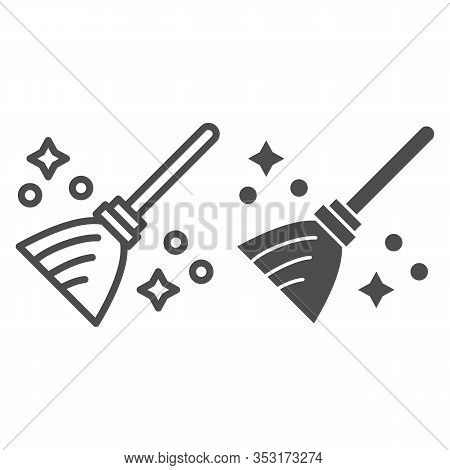 Magic Broom Line And Solid Icon. Wizard And Witch Flying Besom For Household. Halloween Party Vector