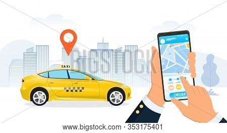 Businessman Using A Ride Hailing App To Order A Taxi Cab In A City Street With A Close Up On His Han
