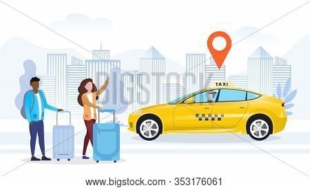 Taxi Order Or Ride Hailing App With Location Marker As Two Tourists With Luggage Wait For A Yellow T