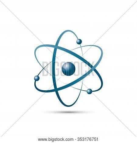 Atom Icon In Flat Design. Blue Molecule Symbol Or Atom Symbol Isolated. Vector Illustration