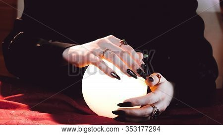 Clairvoyance. Crystal Balls Hands Fortunetellers To Have Visions