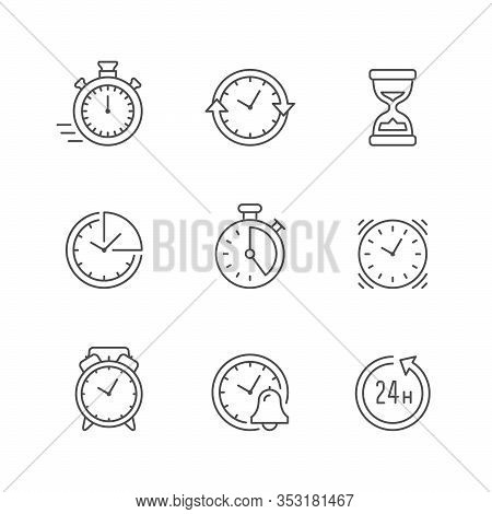 Set Line Icons Of Time Isolated On White. Watch, Hourglass, Deadline Concept, Vintage Alarm, Stopwat