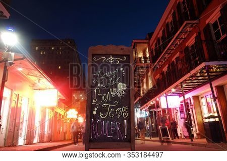 Laissez Les Bon Temps Rouler ( Let The Good Times Roll ) Sign On Bourbon Street In New Orleans Frenc