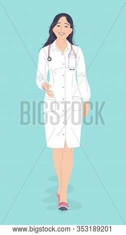 Friendly Doctor Woman In White Coat Isolated On Turquoise Background. Simple Female Character In Ful