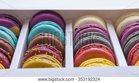 Set Of Different French Cookies Macaroons Macaroons In A Paper Box. Top View. Any Tastes. Coffee, Ch