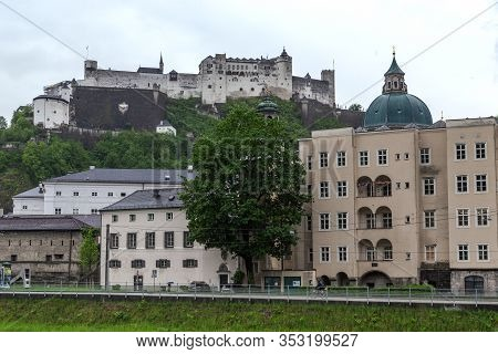 Salzburg, Austria - May 20, 2019: This Is Hohensalzburg Castle On Mount Festung, One Of The Largest
