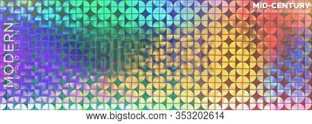 Horizontal Vector Panorama. Ornament Similar To Mid-century, But In Colorful Trendy Style.