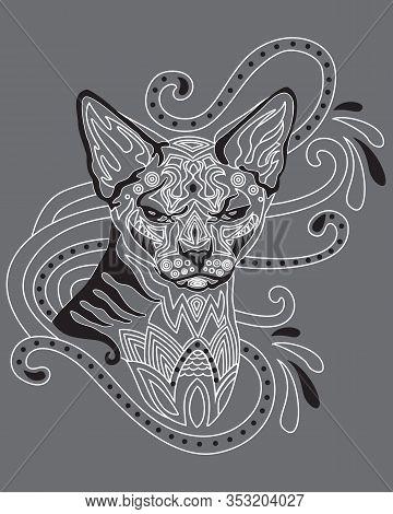 Monochrome Abstract Doodle Ornamental Portrait Of Sphinx Hairless Cat. Decorative Vector Illustratio