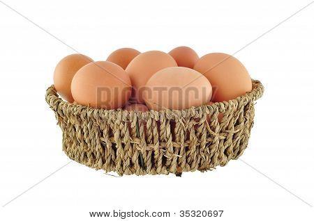 Brown Eggs In Basket