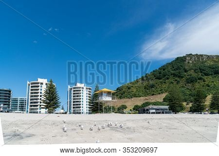 Tauranga, New Zealand - February 24 2020;oceanside Twin Tower Apartments On Mount Main Beach In Back