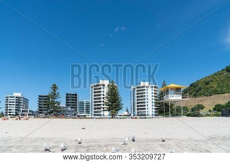 Tauranga, New Zealand - February 24 2020; Oceanside Twin Tower Apartments On Mount Main Beach In Bac