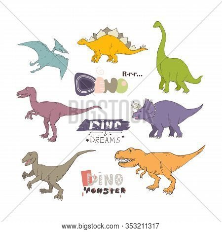 Dino Set With Lettering.tyrannosaurus .prehistoric Creatures Cartoon Dinosaur Illustration.wild Anim