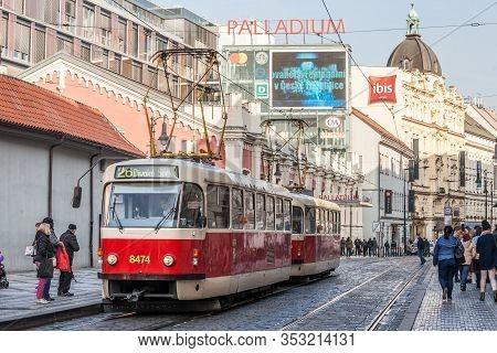 Prague, Czechia - October 31, 2019: Prague Tram, Or Called Prazske Tramvaje, Tatra T3 Model, Near Th