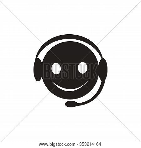 Customer Service Operator Flat Icon. Man With Headset Linear Style Sign For Mobile Concept And Web D