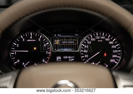 Novosibirsk, Russia - December 29, 2019:  Nissan Teana, Dashboard Of The Car Is Illuminated By Brigh