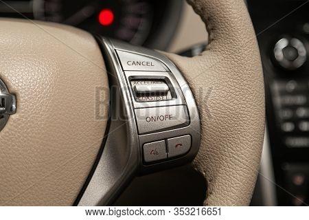 Novosibirsk, Russia - December 29, 2019:  Nissan Teana, New Beige Steering Wheel With Multifunction
