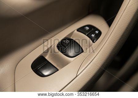 Novosibirsk, Russia - December 29, 2019:  Nissan Teana, Interior Of Modern Car. Side Door Buttons: W