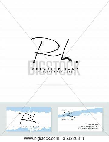 R H Rh Initial Logo Signature Vector. Handwriting Concept Logo.