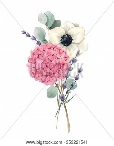 Beautiful Gentle Bouquet With Watercolor Pink Hydrangea Flowers And White Anemones With Lavander. St