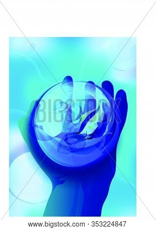 Magic Crystal Ball In Hand, Sea Fish In A Glass Transparent Bowl On A Man's Hand. Blue Background, M