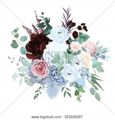 Elegant Floral Vector Bouquet With Burgundy Red Peony, Dusty Pink Rose, Blue And White Flowers, Euca