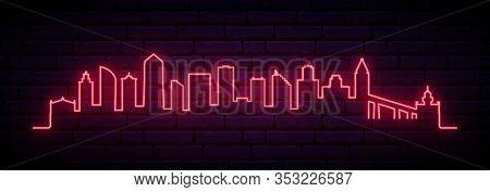 Red Neon Skyline Of San Diego City. Bright San Diego Long Banner. Vector Illustration.