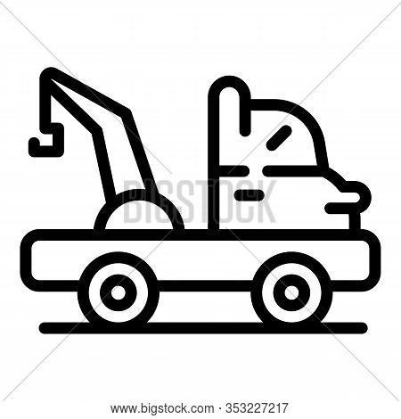 Tow Truck Help Icon. Outline Tow Truck Help Vector Icon For Web Design Isolated On White Background