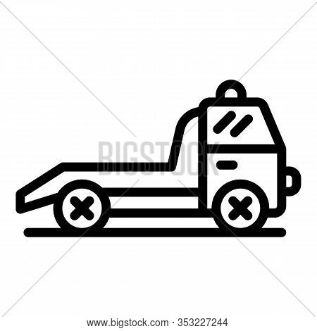 Service Tow Truck Icon. Outline Service Tow Truck Vector Icon For Web Design Isolated On White Backg