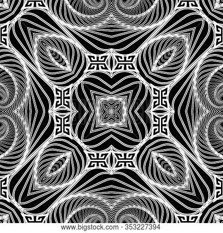 Intricate Black And White Lines Seamless Pattern. Ornamental Abstract Lines, Shapes, Flowers Backgro