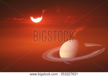 Half Sunset Sky Back On Red Cloud And Colse Up To Rings Of Saturn Planet