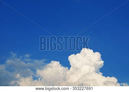 Pure Clear Blue Sky White Cloud And Sunlight Shiny On A Day