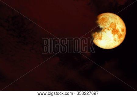 Red Sturgeon Moon Back On Silhouette Cloud On Sunset Sky
