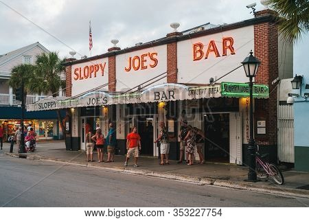 Key West, Florida, United States - July 12 2012: Sloppy Joes Bar In The Evening With Illuminated Sig