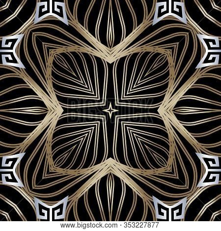 Lines Seamless Pattern. Ornamental Black White Gold Abstract Lines, Radial Shapes, Flowers Backgroun