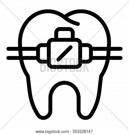 Tooth Bracket Icon. Outline Tooth Bracket Vector Icon For Web Design Isolated On White Background