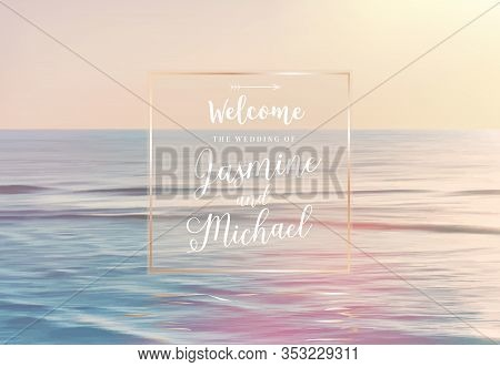 Scenic Pink And Yellow Ocean Sunrise View Vector Design Frame. Tranquil Costline Horizontal Panorama