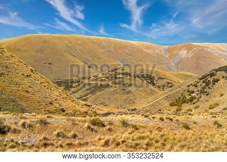 Lindis Pass New Zealand, Brown, Bare And Stark