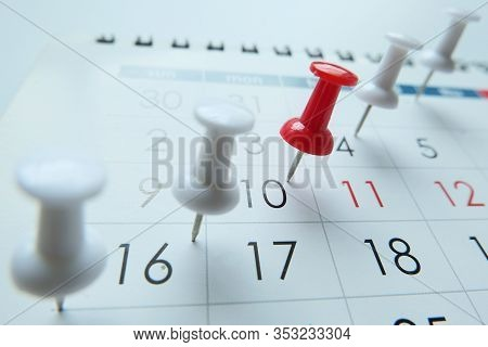 Deadline Concept With Pin On Calendar Date