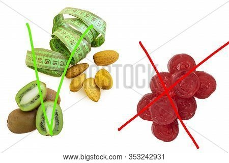 Red Marmalade, Kiwi, A Measuring Tape And Almonds On A White Isolated Background. Marmalade Crossed